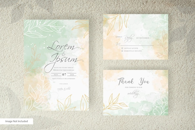 Editable wedding invitation card set template with watercolor splash   and floral arrangement