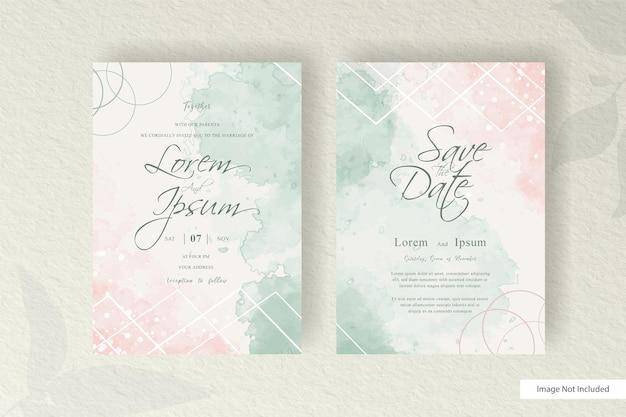 편집 가능한 결혼식 초대 카드 설정 수채화 스플래시와 템플릿