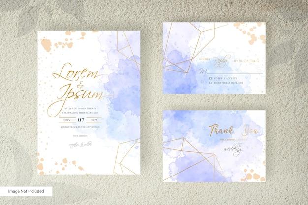 Editable wedding invitation card set template with watercolor splash