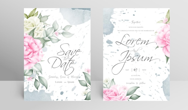 編集可能な結婚式の招待カードセットテンプレート