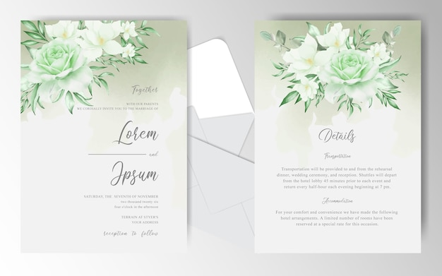Editable wedding invitation card with greenery watercolor and floral arrangement
