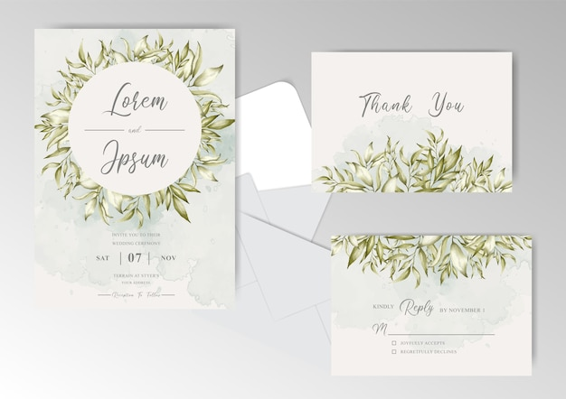 Editable wedding invitation cards set template with wreath foliage and greenery watercolor