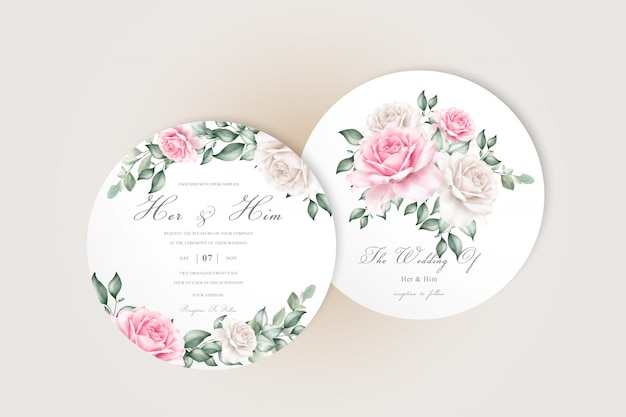 Editable wedding invitation cards with elegant flower and leaves