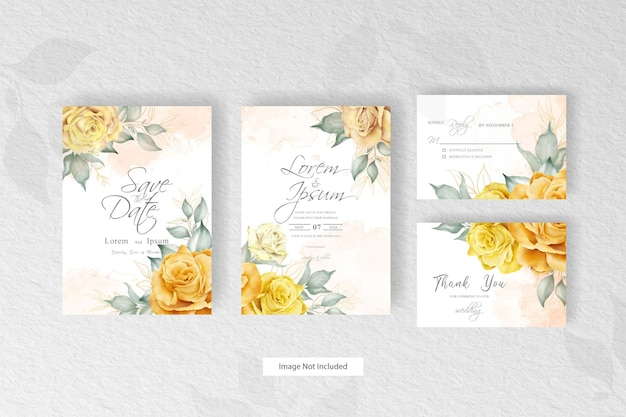 Editable wedding invitation set with hand drawn watercolor flower and leaves