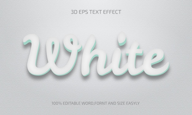 Editable white 3d text effect style