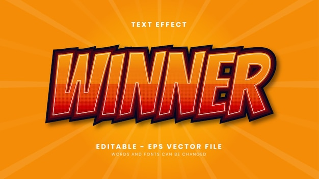 Editable winner text effect