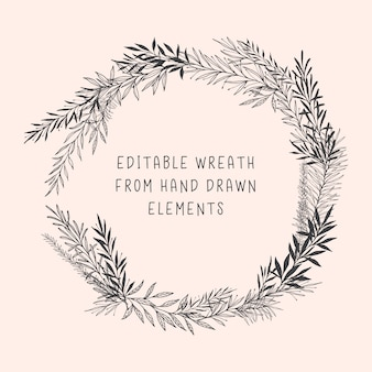 Editable wreath with hand drawn botanical elements