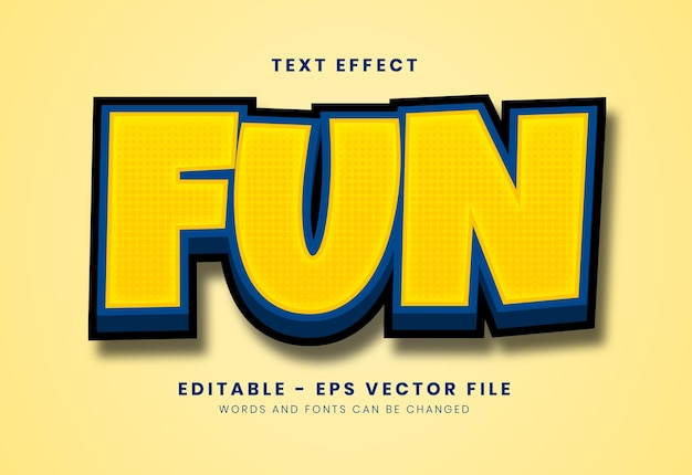 Editable yellow fun text effect with soft texture