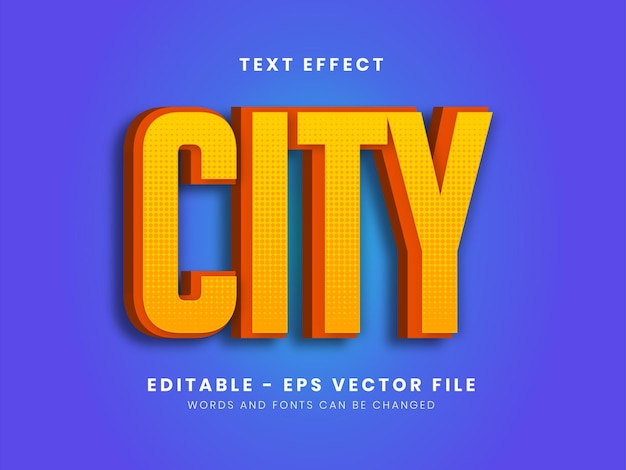 Editable yellow modern city text effect