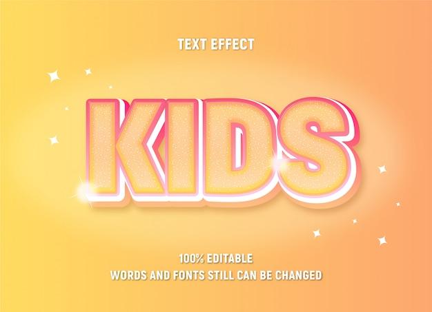 그라디언트 효과와 반짝임 키즈에 대한 편집 가능한 노란색 텍스트.