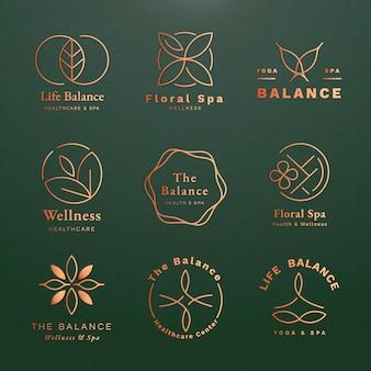 健康とウェルネスのために設定された編集可能なヨガのロゴのテンプレートベクトル