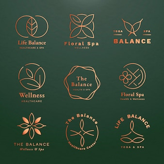 Insieme di vettore del modello di logo di yoga modificabile per la salute e il benessere