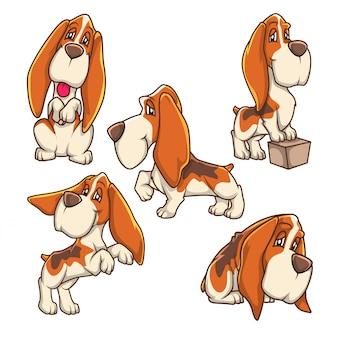 Бассет-хаунд собака щенок талисман набор один эмоции векторный мультфильм editbale