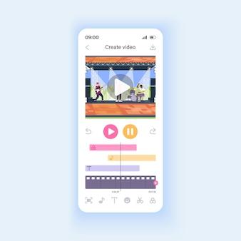 소셜 미디어 스마트폰 인터페이스 벡터 템플릿에 대한 비디오 파일 편집. 모바일 앱 페이지 디자인 레이아웃입니다. 효과, 음악 및 텍스트를 클립 화면에 추가합니다. 응용 프로그램에 대한 평면 ui. 전화 디스플레이