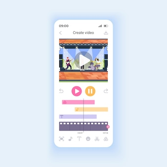 Editing video files for social media smartphone interface vector template. mobile app page design layout. adding effects, music and text to clip screen. flat ui for application. phone display