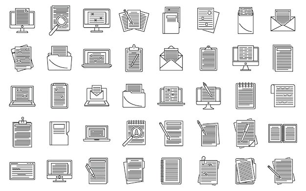 Editor content icons set