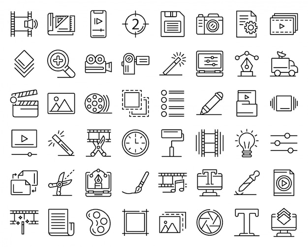 Editor icons set, outline style