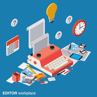 Editor workplace flat isometric vector concept illustration