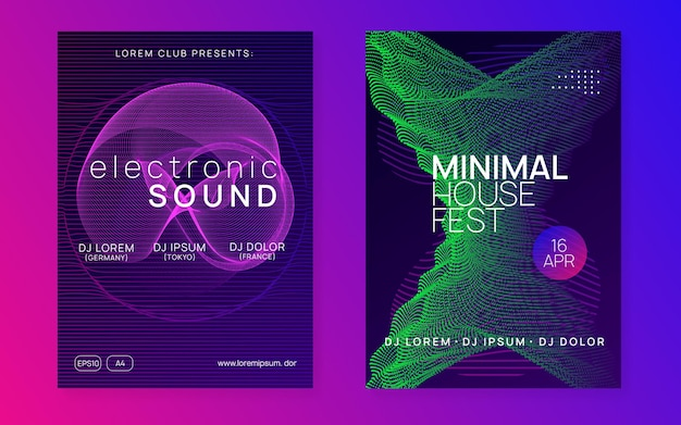 Edm flyer. dynamic fluid shape and line. geometric discotheque banner set. neon edm flyer. electro trance music. techno dj party. electronic sound event. club dance poster.