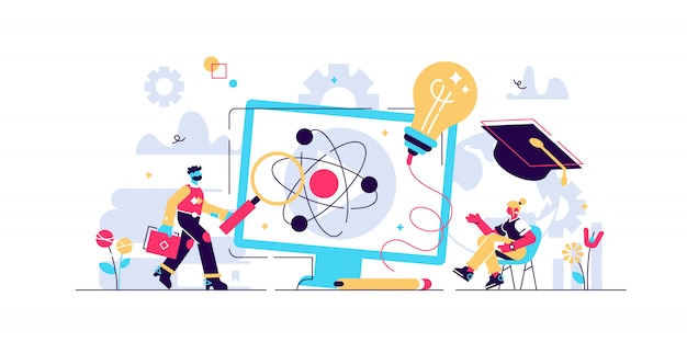 Edtechイラスト。小さな教育技術学習人の概念。改善プロセス、知識開発を促進する研究と倫理的実践についての象徴的な視覚化