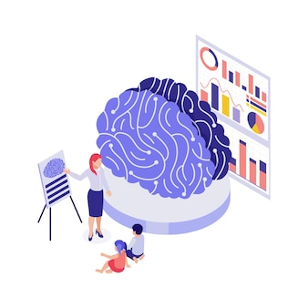 Education 3d concept with students using model to study human brain isometric illustration