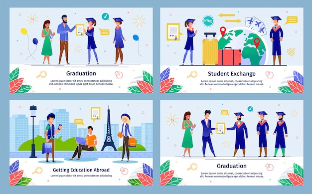 Education abroad exchange program vector banners