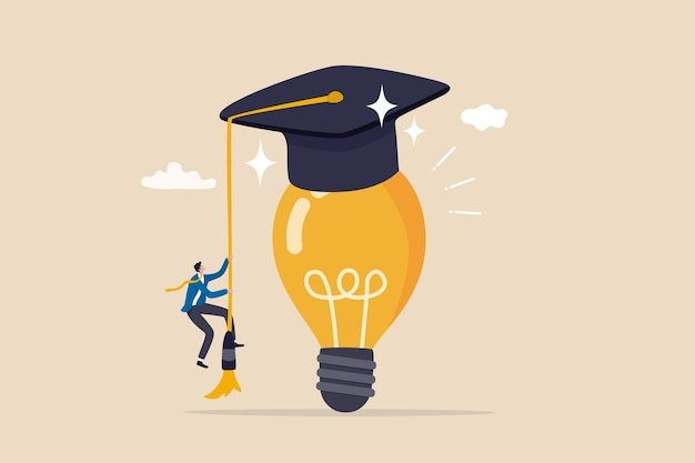 Education or academic help create business idea skill and knowledge empower creativity concept