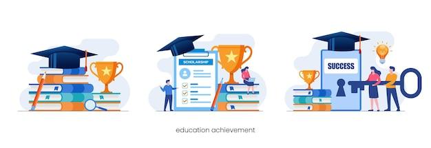 Education achievement, learning, scholarship, education concept, flat vector illustration