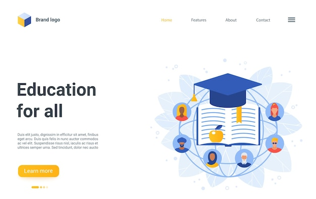 Education for all landing page, cartoon educational symbols, people group flat avatars
