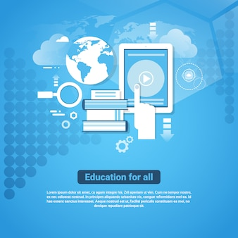 Education for all template web banner with copy space learn online concept