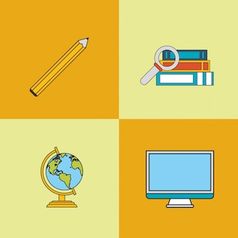 Education and earth globe with academia related icons image