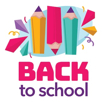 教育と知識の取得、鉛筆と装飾的なリボンでお祝いのバナー。クラスやレッスン、紙吹雪や装飾デザインのための消耗品や器具。フラットスタイルのベクトル