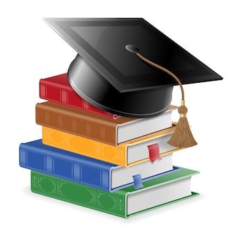 教育と学習の概念。ブックマークと四角い卒業帽付きの色付きの本のスタック。現実的な孤立