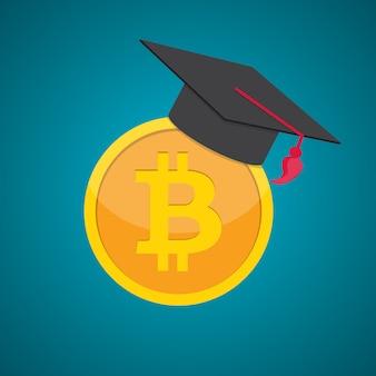 教育とお金、卒業の帽子とコイン現金コンセプトフラット