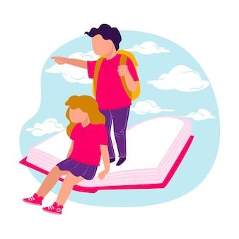 교육 및 책에서 지식 습득, 학습 및 기술 개발. 앞을 가리키는 책 위에 서 있는 소년과 소녀, 아이들을 위한 기회와 가능성. 평면 스타일의 벡터