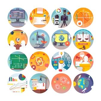 교육 및 과학 원형 아이콘을 설정합니다. 과목 및 과학 분야. 아이콘 모음.