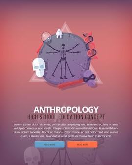 教育と科学の概念図。人類学生命の科学と種の起源。バナー。
