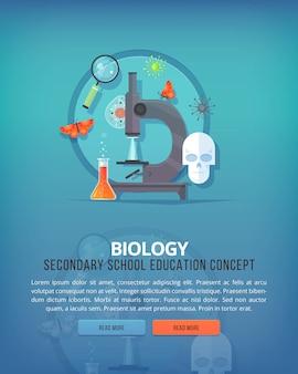 教育と科学の概念図。生物学。生命の科学と種の起源。バナー。