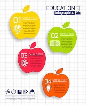 Education apples infographic template