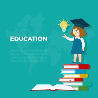 Education background  illustration. pupil girl standing on book heap with idea lamp bulb. primary school study education concept.
