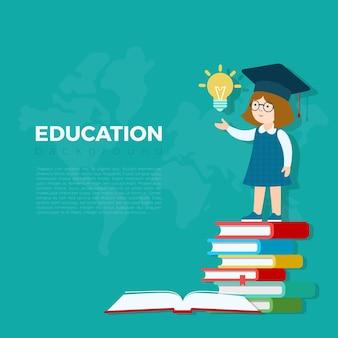 교육 배경 그림입니다. 아이디어 램프 전구 책 더미에 서있는 학생 소녀. 초등학교 연구 교육 개념.