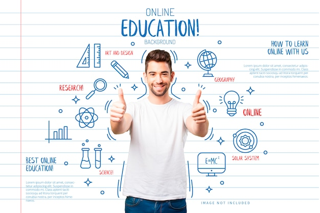 Education background with funny icons