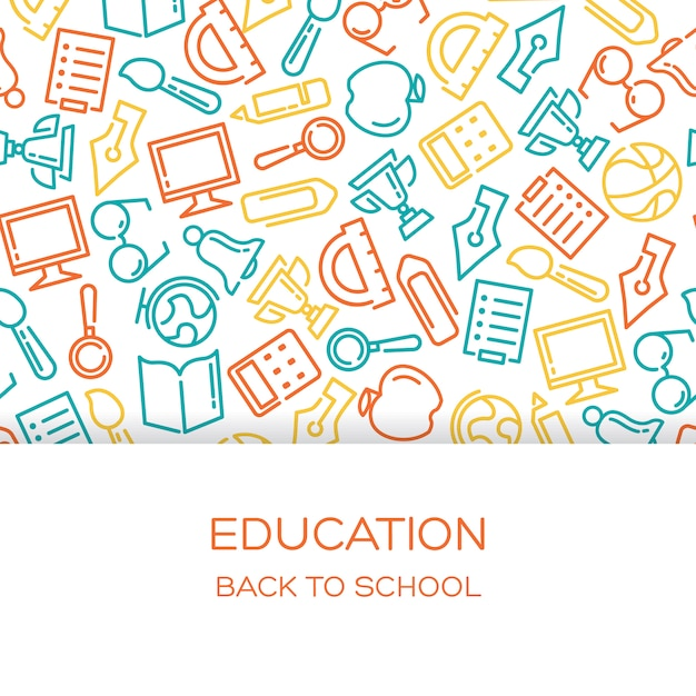 Free Education Background With Lined Icons Svg Dxf Eps Png Free Svg Best Cut Files