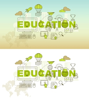 Education banner background design concept