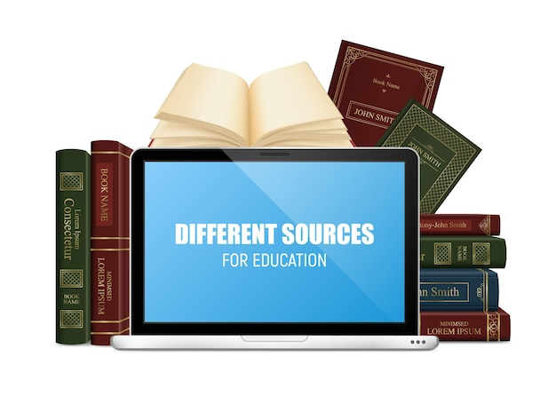 Education books in hard cover and laptop with lettering on blue screen 3d