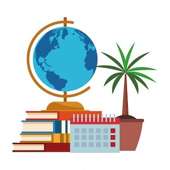 Учебники, календарь с глобусом и горшок