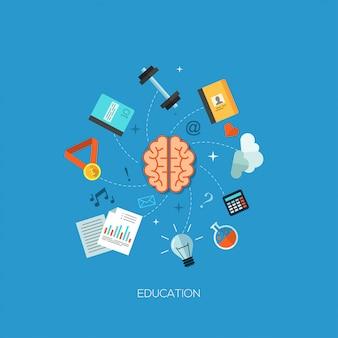 Education brain process flat web infographic concept