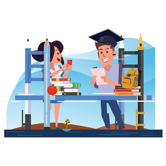 Education bridge with student. learning concept - vector illustration