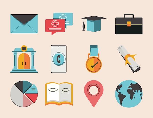 Education business success cartoon set
