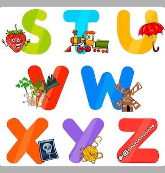 Education cartoon alphabet letters for kids